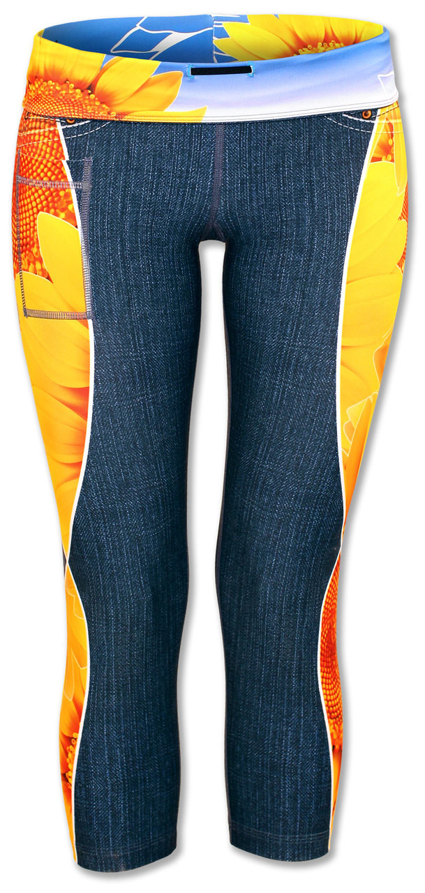 INKnBURN Women's Sunflower Capris Front with Waistband Folded Down