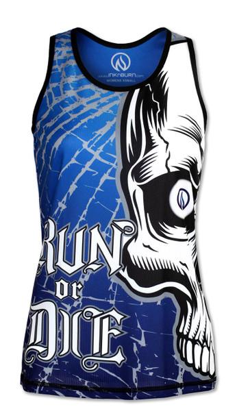 INKnBURN Women's Run or Die Skull Singlet Back