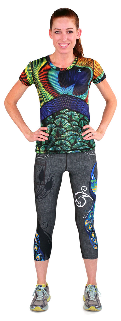 INKnBURN Women's Peacock Tech Shirt and Peacock Capris