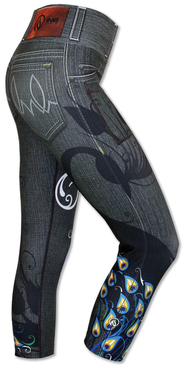 INKnBURN Women's Peacock Capris Right Side