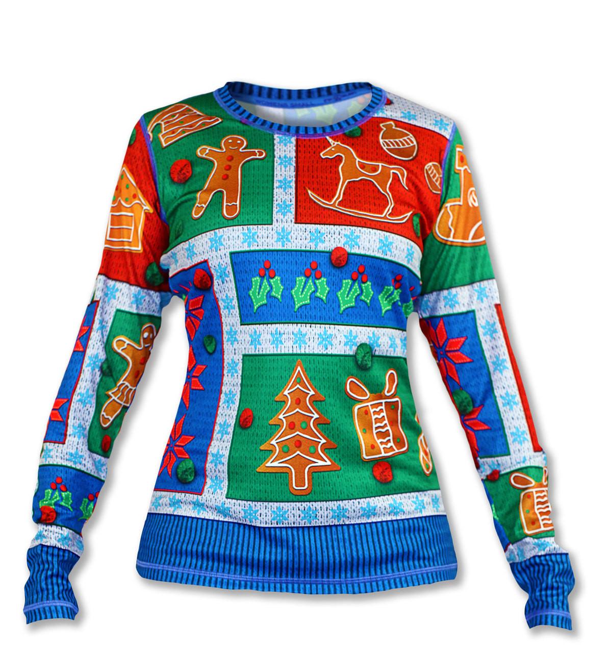 INKnBURN Women's 2017 Holiday Sweater Long Sleeve Tech Shirt Front