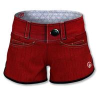 INKnBURN Women's Red Denim Shorts Front