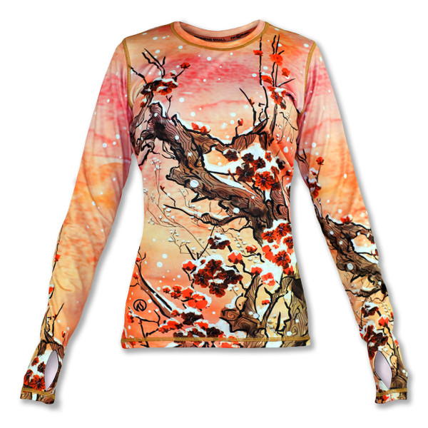 INKnBURN Women's Plum Blossom Pullover with Thumbholes Front