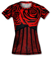 INKnBURN Women's Red Rose Tech Shirt Front