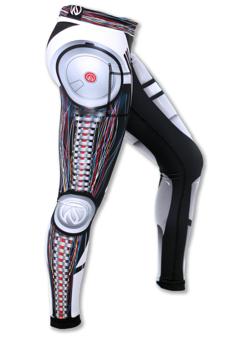 Women's Robot Tights Side Waistband Down