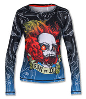 INKnBURN Women's Run or Die Fire Skull Long Sleeve Tech Shirt Front