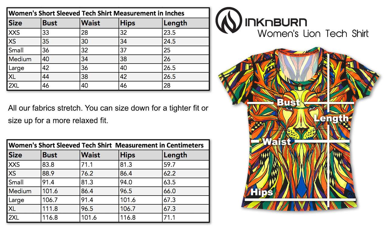 INKnBURN Women's Lion Tech Shirt Size Chart