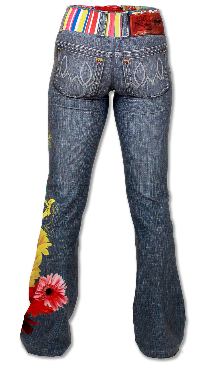 INKnBURN Women's Wildflower Running, Yoga and Workout Pants Back with Waistband up.