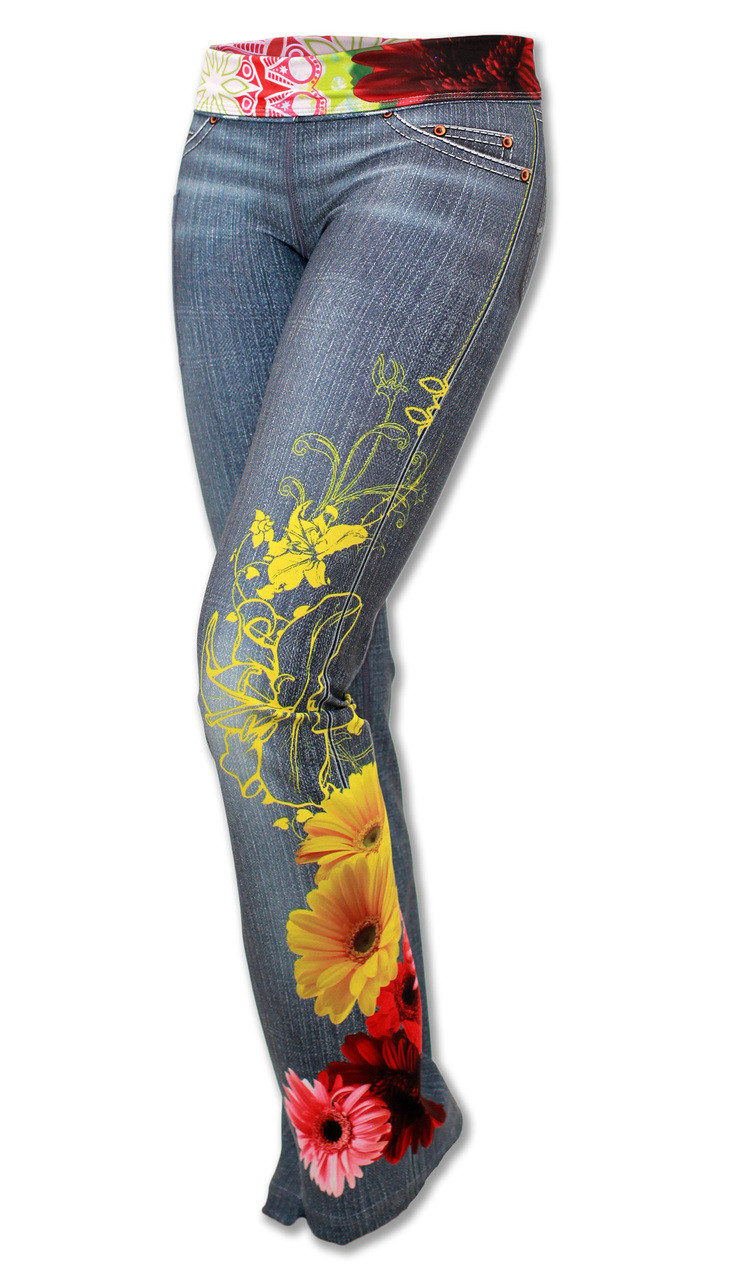 INKnBURN Women's Wildflower Running, Yoga and Workout Pants 3/4 Front with Waistband folded down.