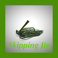 The Skipping jig is a hand painted arkie style jig hand tied with premium silicone material.The silicone skirt is tied inside out to create flare yet reduce bulk for better skipping.  They boast super sharp Mustad Ultra point hooks, and come in two versions. The Regular has a much lighter wire hook for casting presentations and the HD has a stouter hook along with a recessed line tie for flipping, Pitching and use around heavier cover.