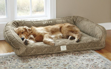 Orvis Deep Dish Dog Bed with Memory Foam- Brown Tweed