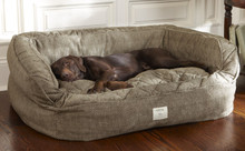 Orvis Lounger Deep Dish Dog Bed - Large dogs 60-120 lbs. Brown Tweed