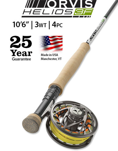 """Orvis Helios 3F (Finesse) 10' 6"""" 3 Weight 4 Piece (Complete Outfit)"""