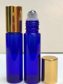 10ml (1/3 oz) Cobalt Blue Rollon Bottle With Stainless Steel Roller and Aluminum Gold Caps
