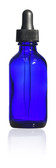 60ml [2 oz] COBALT BLUE Boston Round Bottle with 20-400 Glass Dropper 7x89mm