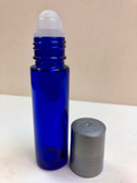 10ml (1/3 oz) Cobalt Blue Rollon Bottle With Plastic Roller & Plastic Silver Caps