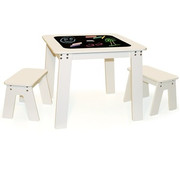 Pkolino Chalk Table and Benches - White