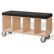 Offi and Co. Bench Box Modern Childrens Bookcase and Toy Storage with Pad for Seating