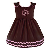 Princess Linens Bon Bon Chocolate Corduroy Dress with Pink Trim