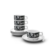 notNeutral Black Flora Cup and Saucer - Set of 4