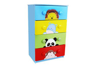 Teamson Design Kids Sunny Safari 4 Drawer 8 Handle Chest