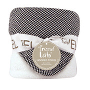 Trend Lab Black and White Gingham Seersucker Hooded Towel