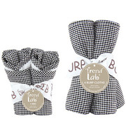 Trend Lab Black and White Gingham Seersucker Bib and Burp Cloth Set