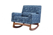 Nursery Works Sleepytime Rocker - Cosmo Cotton in Indigo with Walnut Legs