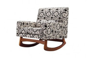 Nursery Works Sleepytime Rocker - Bazaar Cotton in Night with Walnut Legs