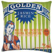 "Koko Company Rice 20"" x 20"" Pillow with Golden Print"