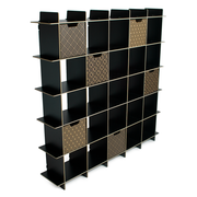 Sprout Kids 25 Cubby Mid Century Bookcase - Black