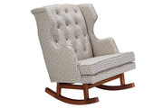 NURSERYWORKS Empire Rocker Athena Cotton Grey w/ Walnut Legs