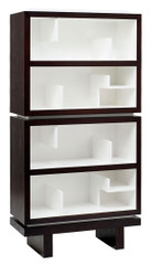 NURSERY WORKS STORYTIME DOUBLE BOOKCASE in SNOW w/ DARK WOOD FRAME