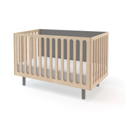 Oeuf Fawn Crib and Bassinet System in White-Grey