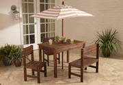Kidkraft Outdoor Patio Set with Beige and White Stripes