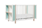 Babyletto Bingo Crib White Washed & Natural w/ Cool Mint