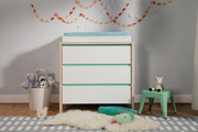 Babyletto Bingo 3 Drawer Dresser White Wash Natural & Cool Mint