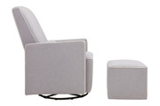 DAVINCI Olive Upholstered Glider w Ottoman - Cream and Grey