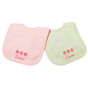 Princess Linens Personalized Pink/Sage Daisy Bib Set