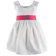 Princess Linens Garden Princess Pique Dress-Hot Pink Sash