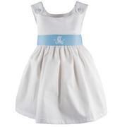 Princess Linens Garden Princess Pique Dress-Light Blue Sash