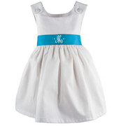 Princess Linens Garden Princess Pique Dress-Turquoise Sash