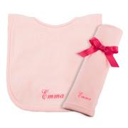 Princess Linens Personalized Pink Bib/Burp Set