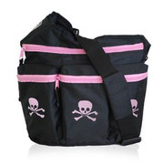 Diaper Dude Diva Bag Black and Pink Skull