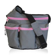 Diaper Dude Diva Bag Grey with Pink Zipper Diva