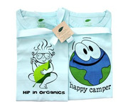 The Green Creation T-Shirt Combo - Hip in Organics and Happy Camper in Bubble Blue - Size 12 to 18 Months