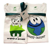 The Green Creation T-Shirt Combo - Wrapped in Organic and Happy Camper in Natural - Size 12 to 18 Months