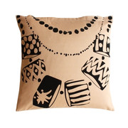 Twinkle Living Necklace Throw Pillow in Beige-Black