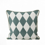 Ferm Living Large Geometry Cushion - Petrol