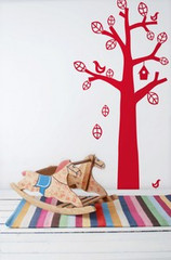 Ferm Living Bird Tree - Red Wall Stickers